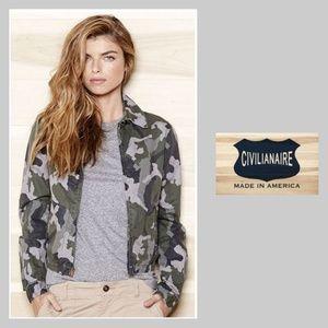 Civilianaire zip front cotton camouflage jacket M